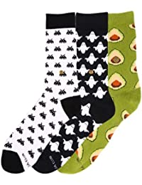 The Moja Club - Women's Quirky, Funky Socks ( Crew Length) - [Pack of 3] - Designs ( Ghost , Avocado, White Space Invaders )