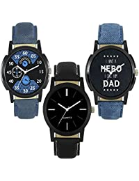 Royal India Overseas New Stylish And Attractive Watch Combo Of 3- For Boys & Men (Blue & Black)