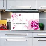 MEIWALL Hohe Temperatur Dunstabzugshaube Herd Kachel selbstklebende Aluminiumfolie wasserdicht Romantische Rose Wandsticker Wandaufkleber für Küche Wand Kunst Dekor Aufkleber
