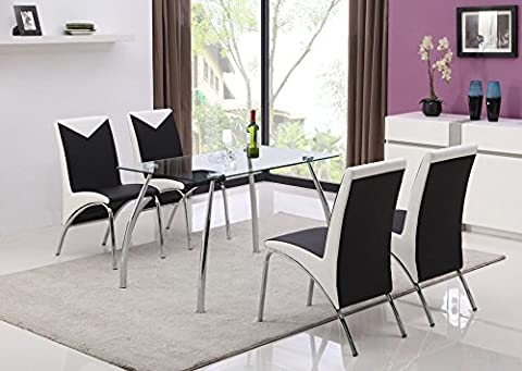 JHI Contemporary Glass Chrome Dining Room Table & 4 Chairs