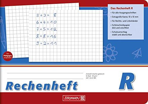Brunnen 1045989 Rechenheft Klasse 1 (A5, 16 Blatt, quer, kariert, Lineatur R)