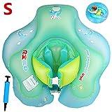 Flotador de natación para bebé con asiento, juguetes para natación recién nacidos, flotador de espera ajustable para bebé, flotador de natación para agua con anillo de seguridad y silla suave de seguridad incluyen inflador manual para (3-12 meses Niños (S))