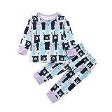 Livoral Kinder Pyjama Set Kind Baby Langarm Cartoon Pinguin Tops + Hosen Schlafanzug Schlafanzug(Blau,3-6 Monate)