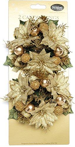 Festive 75 mm 2 piezas Anillas para barra de Pascua vela, dorado