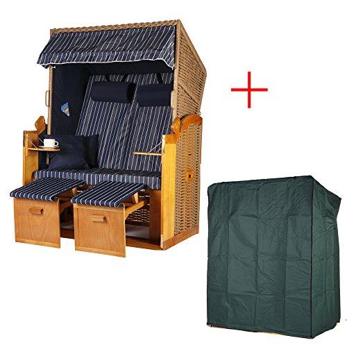 Strandkorb Ostsee Strandkörbe Grömitz 2 Sitzer Blau mit Nadelstreifen PE-Rattan Braun mit hochwertiger Polyester Schutzhülle