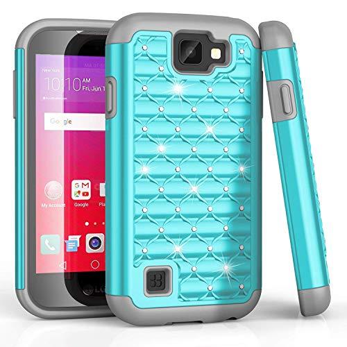 LG K3Fall, LG LS450Fall, bis Nieten Strass Kristall Bling, Hybrid Defender Rugged Slim Case Cover für LG K3Boost Handy/LG K3Virgin Mobile, Turquoise/Gray