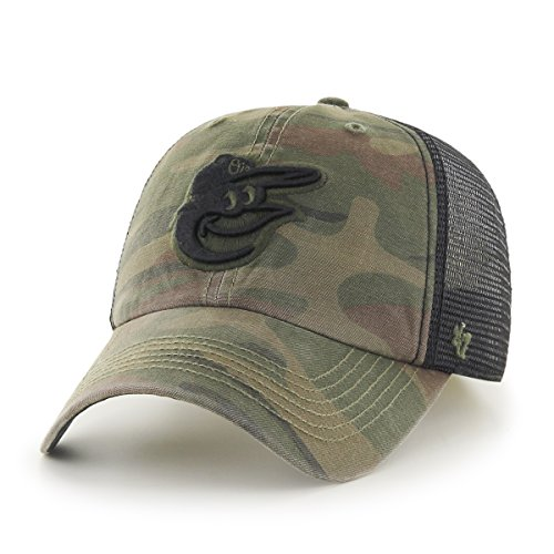 47 Brand MLB Baltimore Orioles Beaufort Closer Stretch Fit Hat, One Size, Sandelholz