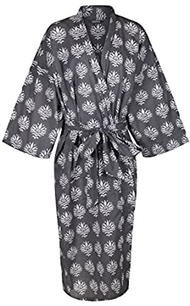 A collection of light kimono robes for women and men. Hand-printed onto % soft organic cotton, the gowns are wonderfully light to wear.