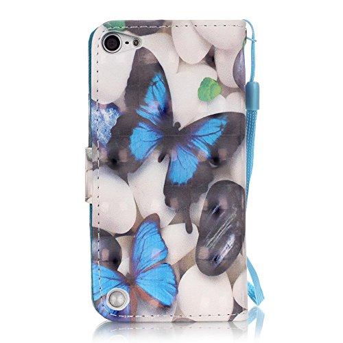 BONROY® Coque pour iPhone 6 4.7 Inch,Housse en cuir pour iPhone 6 4.7 Inch,imprimé étui en cuir PU Cuir Flip Magnétique Portefeuille Etui Housse de Protection Coque Étui Case Cover avec Stand Support  papillon bleu