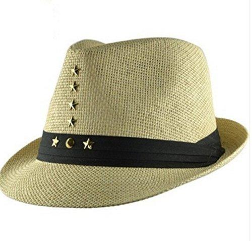 5PCS L'été Les Hommes Et Les Femmes Petit Chapeau Chapeau De Paille Rivets Style Britannique Chapeau De Jazz Beige