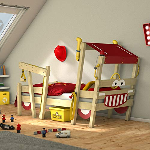 feuerwehrbett kinder WICKEY Kinderbett 'CrAzY Sparky Max' im Feuerwehr-Look - Einzelbett aus Massivholz - 90x200 cm