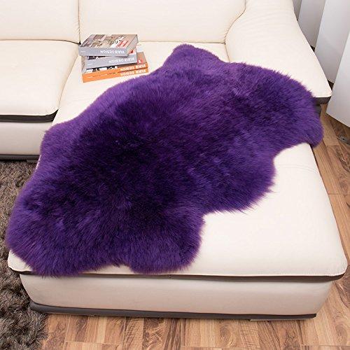 huahoo echtes Schaffell Teppich echtem Lammfell Decke natur Fell Pelz Teppich Pad Bereich Shag Teppich für Schlafzimmer Wohnzimmer, Wolle und Wollgemisch, violett, Single Pelt/2ft x - Shag Fell