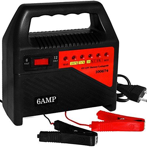 rät Auto | Überhitzungsschutz Schutzschaltung | 6V 12V Autobatterie Ladegerät 6A KFZ Batterie Akku ()
