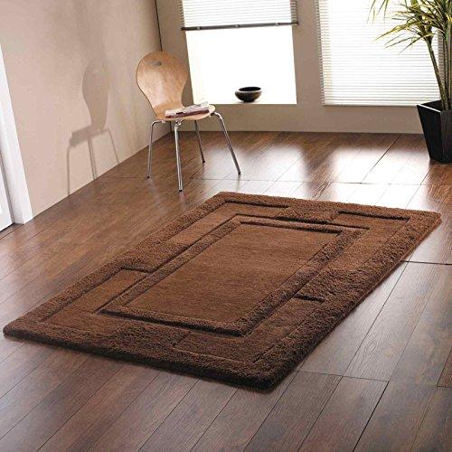 4 tamaños disponibles - Sierra - Apollo - Buena calidad Chocolate 100% alfombra de lana, marrón, 75 x 150 cm