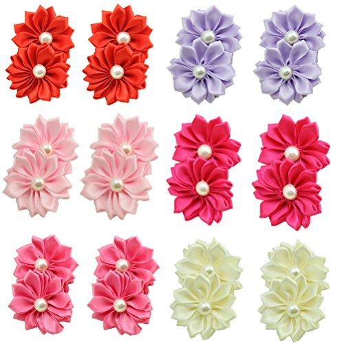 HABI 12 stk gepunktet mehrfarbig Haarspange Blume geformt Haarklammer mit Perle Fliege Schleife für Mädchen