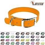 LENNIE BioThane Halsband, Dornschnalle, 25 mm breit, Größe 44-52 cm, Pastell-Orange, Aufdruck möglich