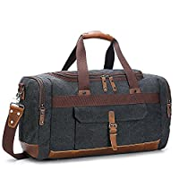 Holdall Overnight Weekend Bag Travel Duffel Bag Canvas Leather 20.5