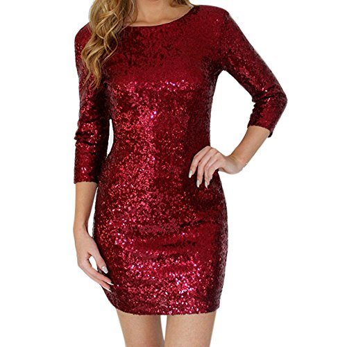 LAEMILIA Sexy Women Sequin Bodycon Mini Party Dress Crewneck Long Sleeve Shimmer Glam Sparkly Glitter Cocktail Pencil Dress