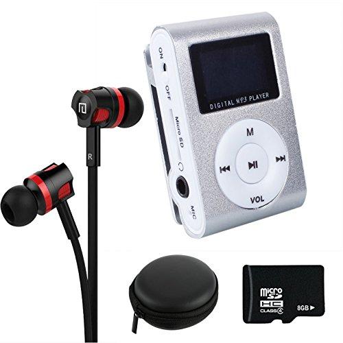 Preisvergleich Produktbild NEOGADS Mp3 Player LCD Clip Set + 8GB Micro SD Karte + Bass Headset + Etui zum Verstauen (Silber)