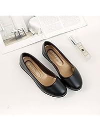 Xue Qiqi Zapatos de la Corte Zapatos de Trabajo de Tacón bajo Hembra Plana Negra Fondo Redondo Suave Zapatos de...