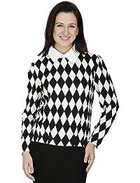 SVT ADA COLLECTIONS Cotton Lycra White & Black with White Collar Ever TIME Elegant TOP (022225_Black_Medium).
