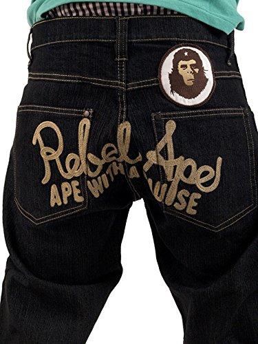 Rebel Ape Herren Jeanshose Schwarz Denim