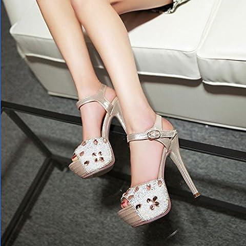 San Le nuove scarpe da sposa bianchi scarpe da sposa di alta con i pesci impermeabili scarpe fibbia testa damigelle bene con strass , gold , 37