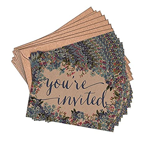 (Pack of 10) Floral Blue Wedding Rustic Forget-me-not Blank Invitations and Kraft Envelopes A6 Wedding Party baby