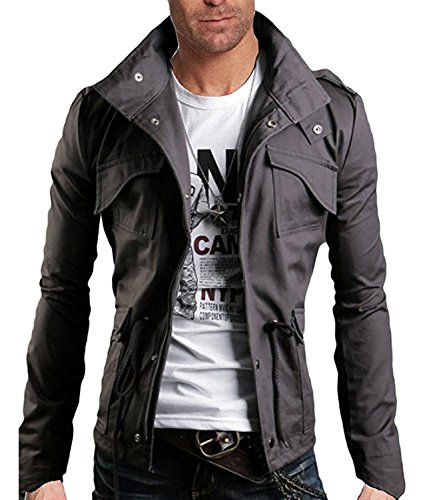 Minetom Frühling Herbst Herren Slim Fit Jacke Übergangsjacke Modern Freizeit Mantel Zip Jacket Grau DE 52