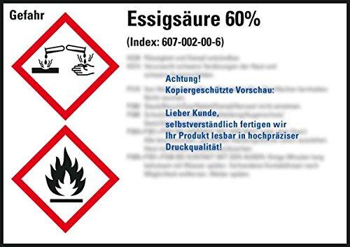 LEMAX® GHS-Etikett Essigsäure 60%, gem.GefStoffV/GHS/CLP, Folie, 148x105mm, 4/Bogen
