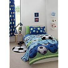 Catherine Lansfield Kids Juego de funda nórdica (200 x 200 cm), diseño de balones de fútbol, color azul