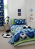 Catherine Lansfield Football Easy Care Single Duvet Set Blue