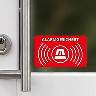 5 Stück - Aufkleber Alarmgesichert 5 x 3cm - Für innenseitiges Anbringen bei z.B. Fenstern und Anderen Glasflächen - Rechteckig mit abgerundeten Ecken - Dezent Aber wirkungsvoll