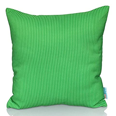 Sunburst Outdoor Living 45cm x 45cm LIGHT GREEN STRIPE Decorative Throw Pillow Cushion Cover for Couch, Bed, Sofa or Patio - Only Case, No Insert