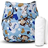 Motherly Reusable Baby Diaper with Insert Nappy Washable Cloth Diapers Nappies for Babies (Pattern-A60-1)