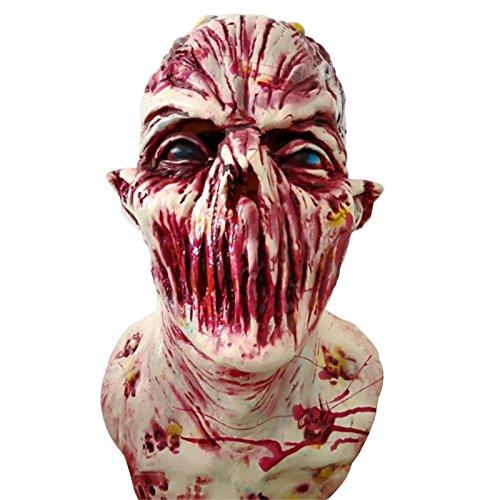 Xueliee Kopfüber Monster Maske-perfekt für Karneval Halloween-Erwachsene Kostüm-Latex, Unisex-Einheitsgröße (Bloodthirsty Wig)