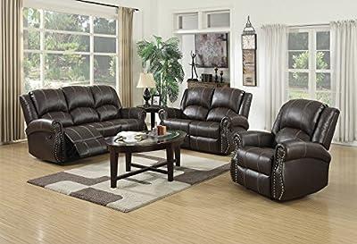 Lovesofas Salisbury Recliner 3 2 1 Bonded Leather Sofa Variations - Brown from LOVESOFAS