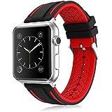 LEEHUR- Apple Watch Armband 42mm, Serie 1/2/3 Sport Armbanduhr Silikonarmband Ersatzarmband Armband für Apple iWatch / Apple Uhr Nike + (42mm, Rot&Schwarz)