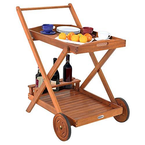 Deuba Casaria Servierwagen mit Rollen FSC®-zertifiziertes Akazienholz Abnehmbares Tablett 3 Flaschenhalter Küchenwagen Holz