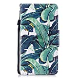 iphone SE 5 5S Case - Cozy Hut [Kickstand] High Quality Excellent Cover Case, Colorful 3D Pattern Design Flip Magnetic Premium Folio PU Leather Credit Card/Cash Holder Slots Wallet Fashion Ultra Slim Fit Protective Case Cover for iphone SE 5 5S - Banana leaves