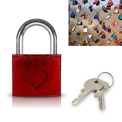 Candado roja con un corazón de amor - pequeño candado - regalo del día de San Valentín