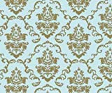 Klebefolie - Möbelfolie Ornamente Gold Hellblau - 45 cm x 200 cm Selbstklebende Folie Barock - Dekorfolie Selbstklebefolie
