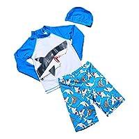 Monvecle Little Boys' 3-Pieces Shark Rash Guard Swimsuits UPF 50+ Sun Protection Swim Set Blue 4-5Y