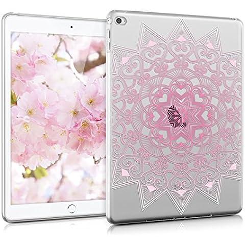 kwmobile Funda transparente para Apple iPad Air 2 carcasa de silcona TPU para tablet funda protectora con Diseño estampado con corazones en rose clair blanc transparent
