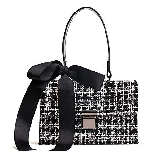 Reinigen, Satin-handtasche (DEAR-JY Umhängetasche, Damenmode Wolle Umhängetaschen Damenhandtaschen elegant getäfelten, Wolle Handtasche Bogen Satin Kontrastfarbe Umhängetasche,Black)