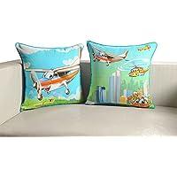Stampa digitale bambini cuscino coperchio 18 x 18 pollici Set di 2 100% cotone, KCC182-205-aerei