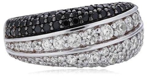 Joop Damen-Ring 925 Sterling Silber Statement teilweise geschwärzt Zirkonia-Pavée weiß/schwarz Gr. 57 (18.1) JPRG90606C570