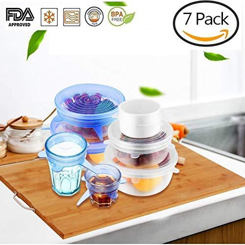 Tapas Ajustables de Silicona Cocina XL-24cm para Alimentos, 7 tamaños, Herméticas y...
