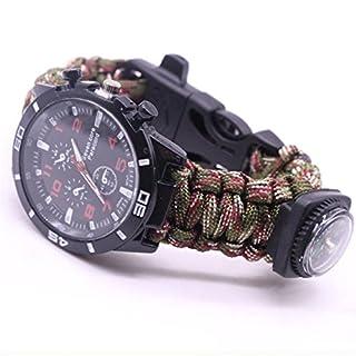 Outdoor Survival Watch Bracelet Paracord Compass Flint Fire Starter Whistle New (F)