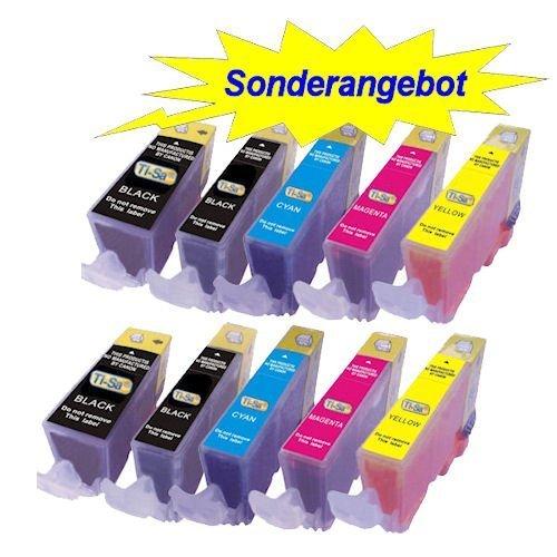 10x Druckerpatronen mit CHIP für Canon (je Farbe 2 Patronen) ersetzt PGI-5 / CLI-8 (Cli-8 Farbe)